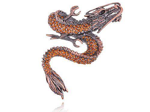 Vintage Repro Copper Tone Topaz Crystal Rhinestone Dragon Fashion Pin Brooch Alilang. $13.99
