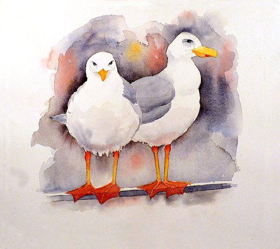 Seagull Art Coastal Bird Art Beach Home Wall Art Bird Ocean Etsy Bird Watercolor Paintings Bird Art Nautical Art