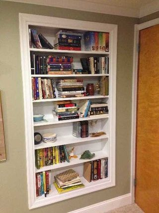 build shelves directly into your walls for extra storage space rh pinterest com how to build shelves into a brick wall build storage shelves into wall