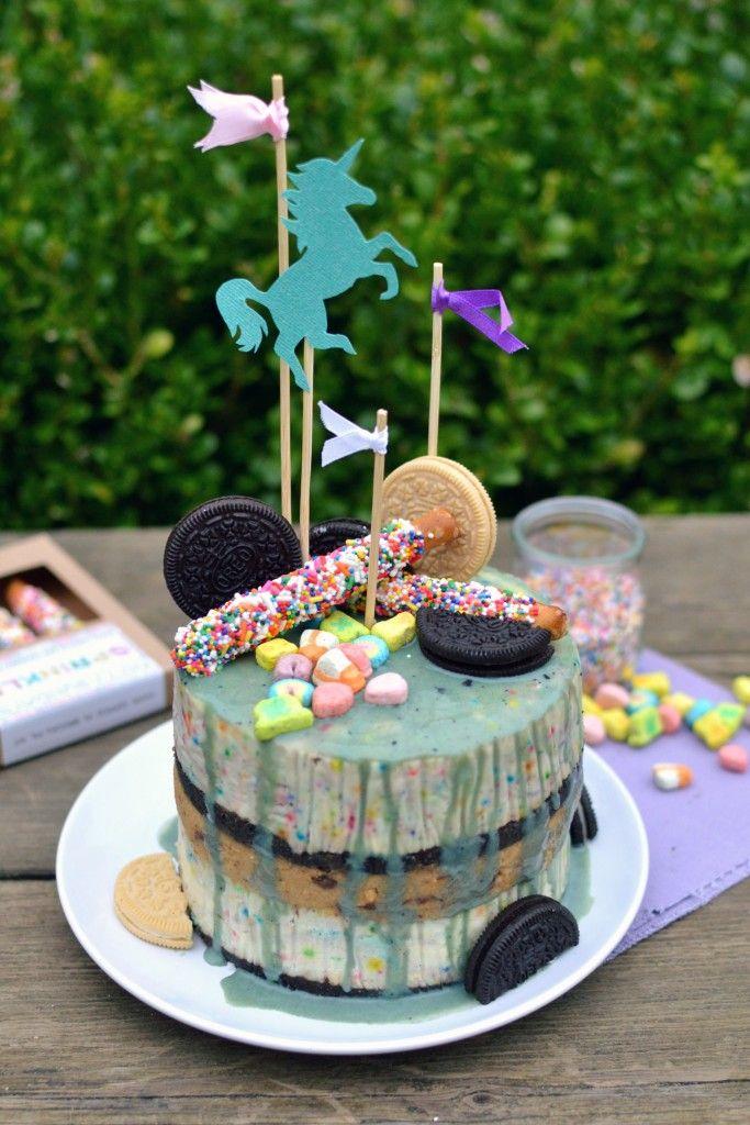 Unicorn Poop funfetti Birthday Cheesecake with an Oreo crust and