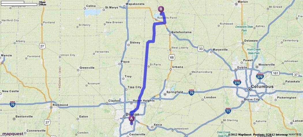Driving directions from 2545 edenhill ave kettering ohio