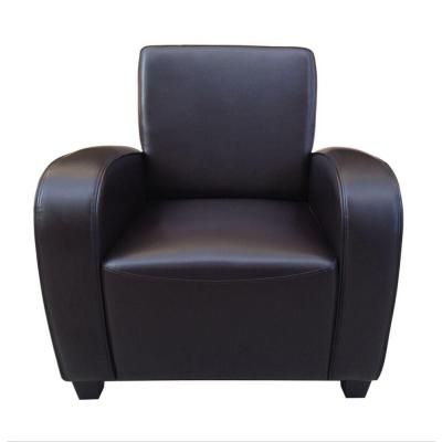 Classic Bonded Leather Club Chair In Dark Brown