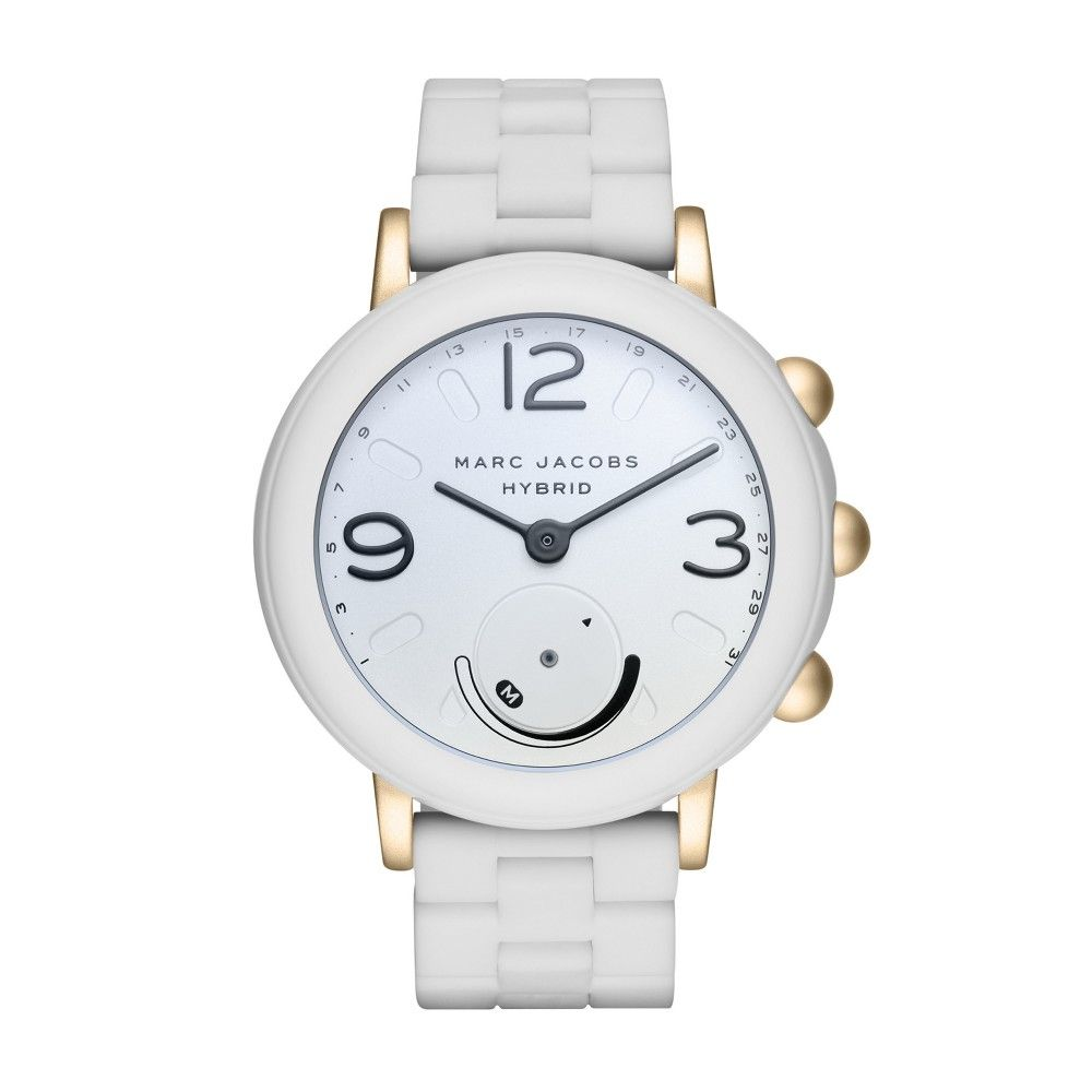 Marc Jacobs Hybrid 42mm Smartwatch White Silicone Gold White Silicone Gold Metal Smartwatch Women Marc Jacobs Silicone Bracelets