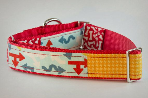 Martingale Collar Red Dog Collar Bones Dog Collar by PuppyRiot