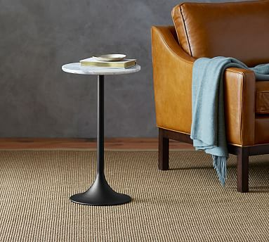 Brigid Marble Top Accent Side Table Pedestal Side Table