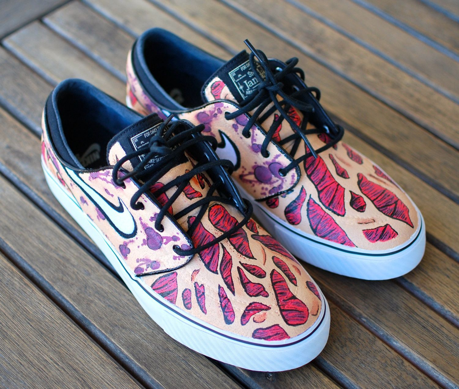 These Custom Nike Zoom Stefan Janoski skate shoes feature a burnt skin  pattern much like the face of Freddy Krueger. This order is customizable as  I can ... a865dac4c322