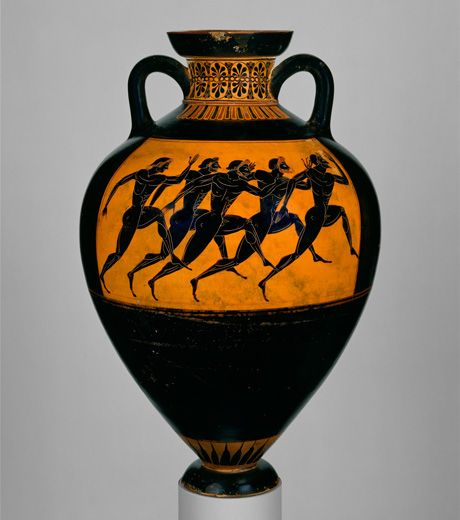 Attributed to the Euphiletos Painter. Terracotta Panathenaic prize amphora, ca. 530 B.C. Greek, Attic.