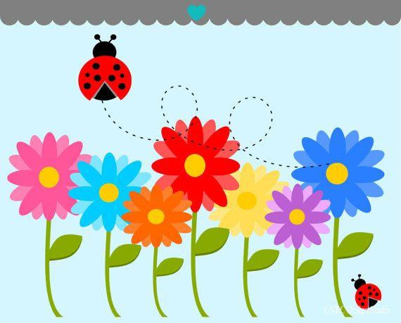 flower GARDEN clip art   Garden Clip Art - Spring Flowers Clip Art ...