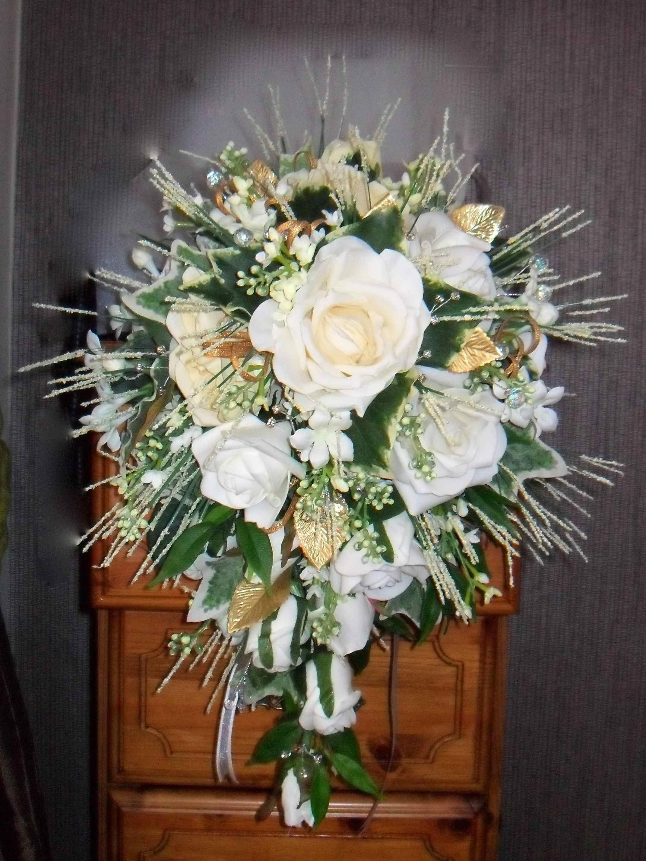 Artificial Artistic Ivory And Gold Shower Style Wedding Bouquet By Nozzeweddingflowersandfavoursco