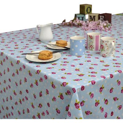 Tea Shop Tablecloth | Wayfair UK Crafted from cotton, this floral tablecloth features an acrylic finish which makes it easy to wipe clean—perfect for your breakfast or play table.  Features Acrylic coated Wipes clean easily with damp cloth Cut to size and does not fray Natural finish that looks and drapes like an ordinary tablecloth.