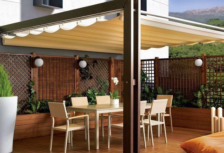 P rgolas jardines terrazas preciosas valla madera ideas - Cubiertas para terrazas ...