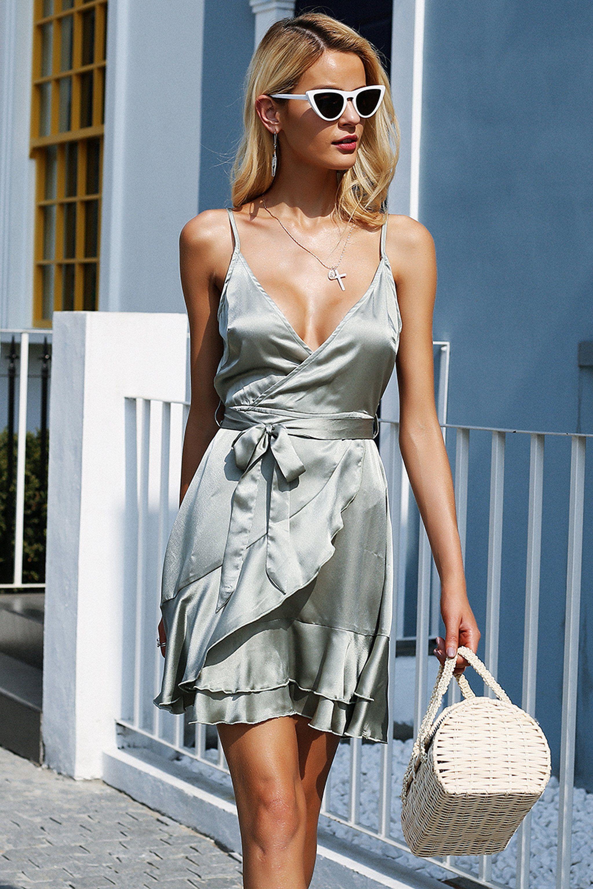 8fd64e61088 Elegant Summer Dresses Outfit Ideas for Women - Romantic Satin Ruffle Mini  Dress in Grey for Valentines Day Date Idea - elegantes ideas de atuendo de  verano ...