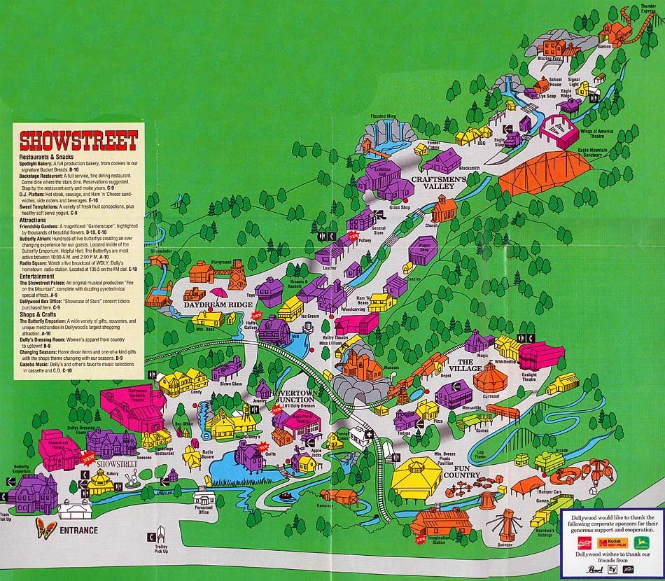 Map of Dollywood from 1992...Oh my how it has grown!!! (and is ... Dollywood Park Map on
