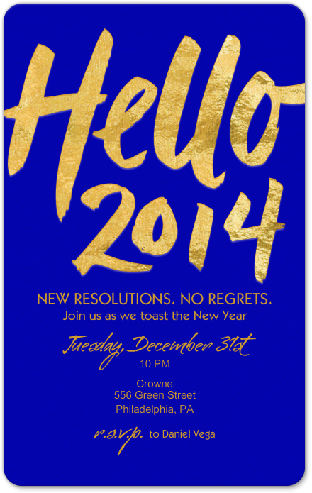 new years eve invitation party brush script fundraiser benefit gala poster typography blue gold