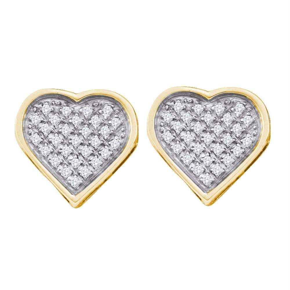 58dbde166 Yellow-tone Sterling Silver Women's Round Diamond Heart Love Cluster  Earrings 1-8 Cttw - FREE Shipping (USA/CAN)