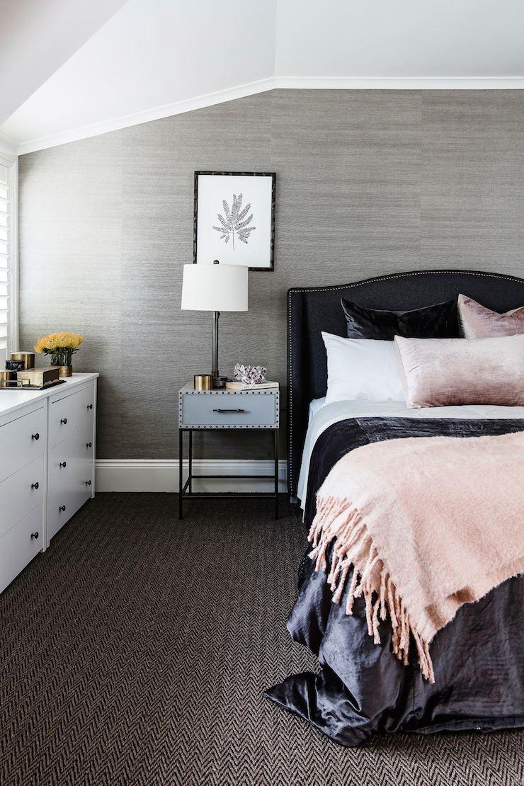 masculine bedroom - grasscloth wallpaper & herringbone pattern underfoot   photo maree homer