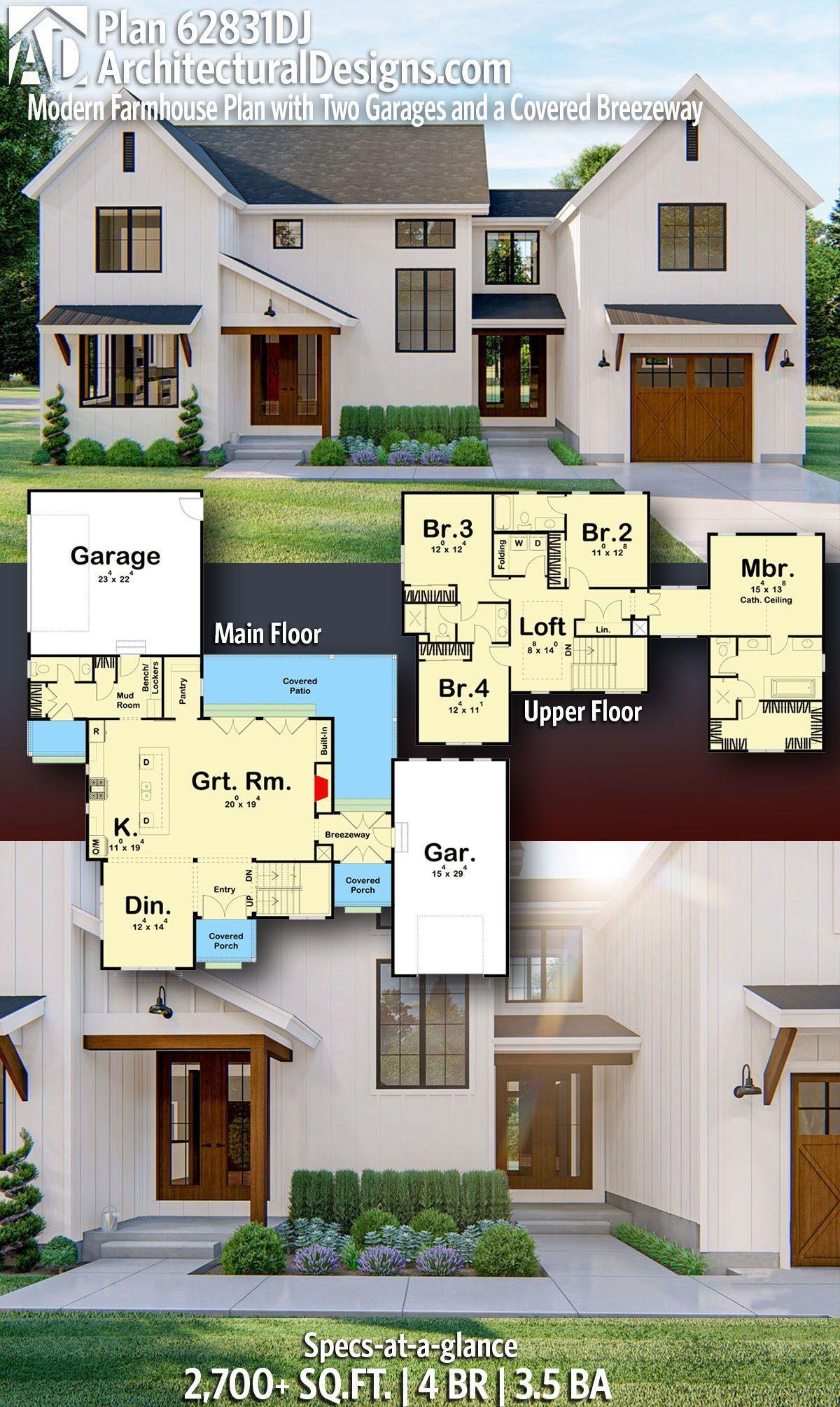 Plan 62831dj Moderne Ferme Plan Avec Deux Garages Et Un Breezeway Couvert In 2020 Modern Farmhouse Plans Sims House Plans Farmhouse Plans