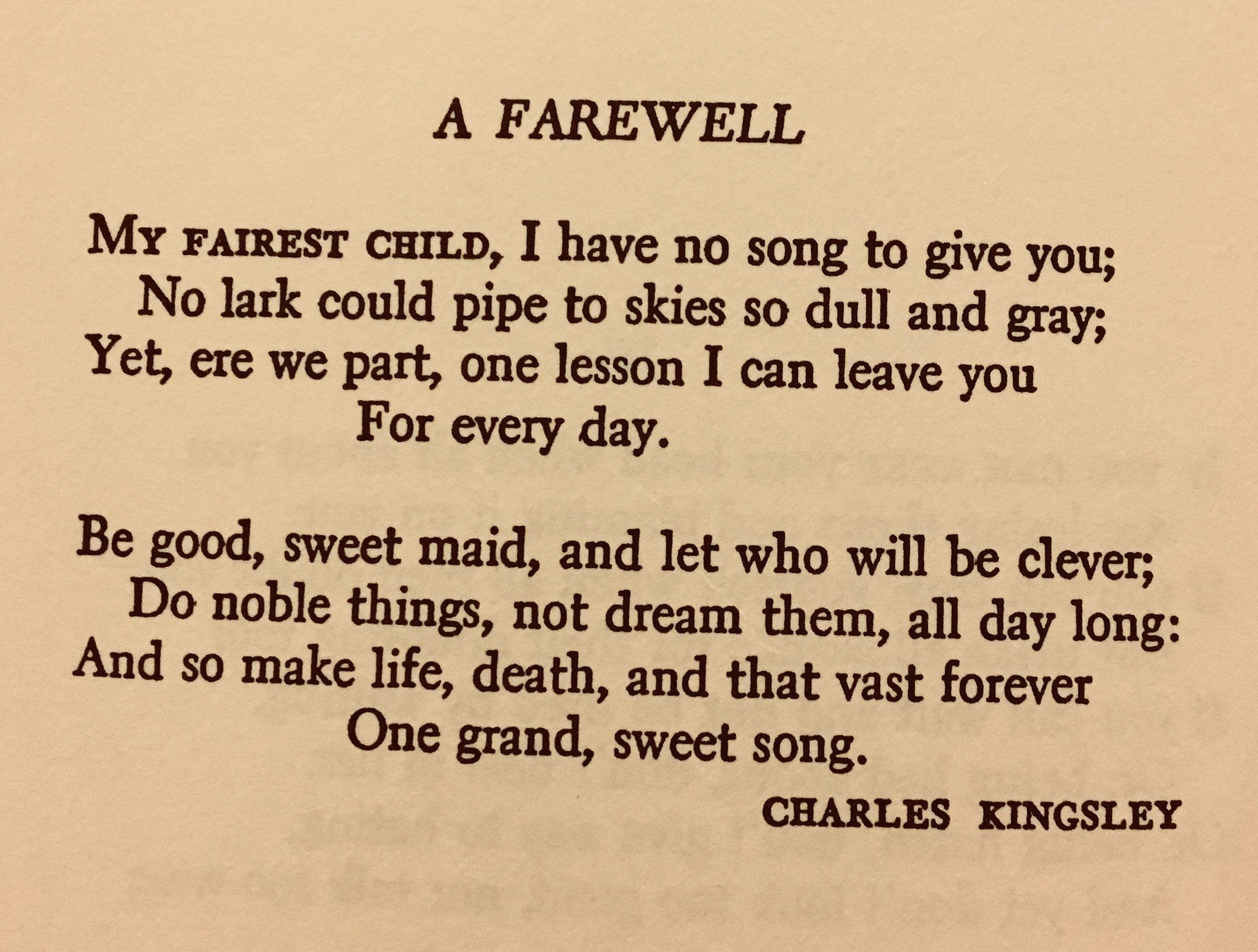 Poem A Farewell Charles Kingsley | Poems | Farewell poems