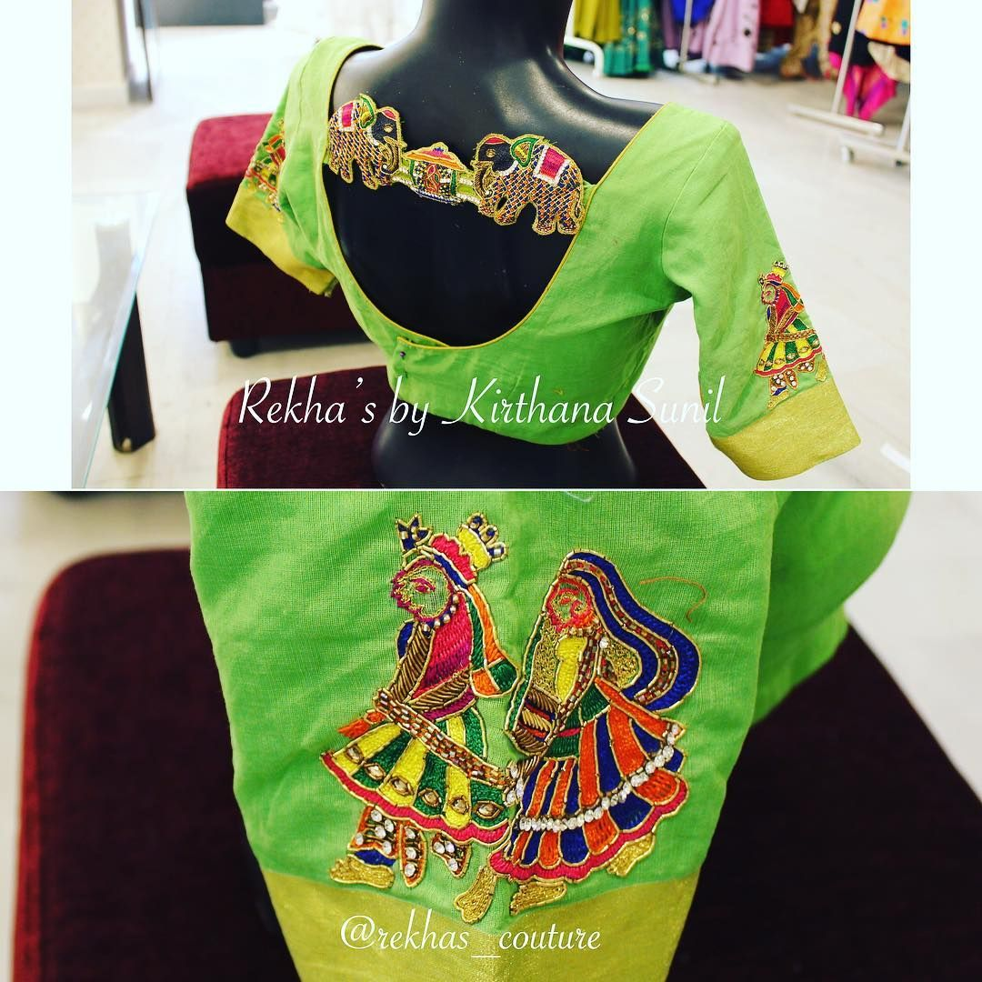4bd4cc3e0a02e8 Stunning parrot green color designer blouse with elephant design hand  embroidery work. Bride and groom design hand embroidery work on sleeves. ...