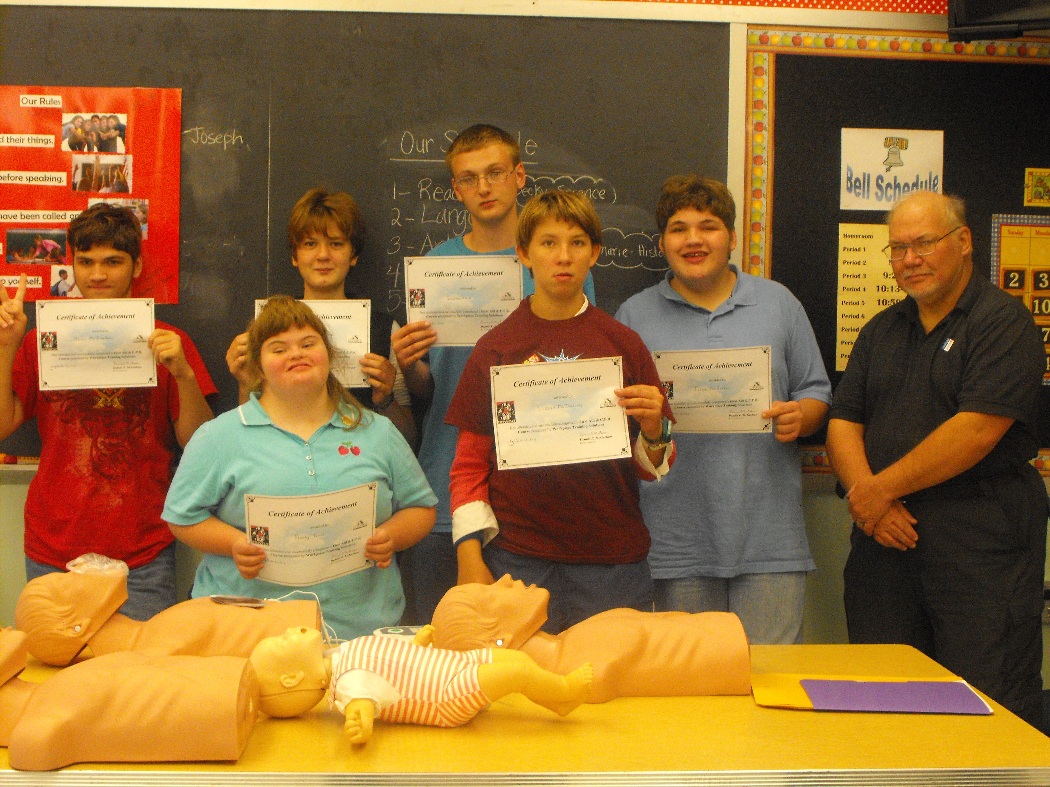 Junior High Students With Their Cpr Certificates Cpr Workplace