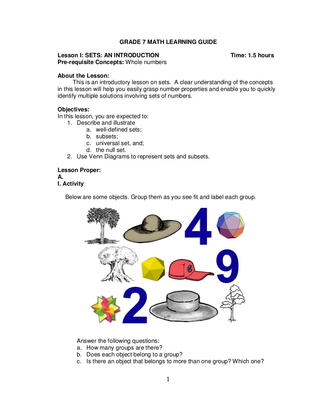 1 Grade 7 Math Learning Guide Lesson I Sets An Introduction Time 1 5 Hour Free Printable Math Worksheets 7th Grade Math Problems Printable Math Worksheets