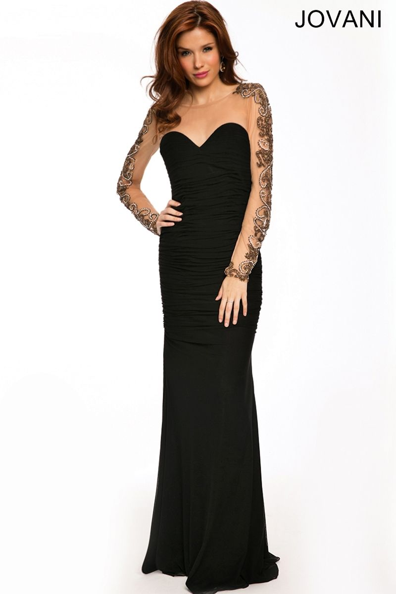 Jovani black jersey dress