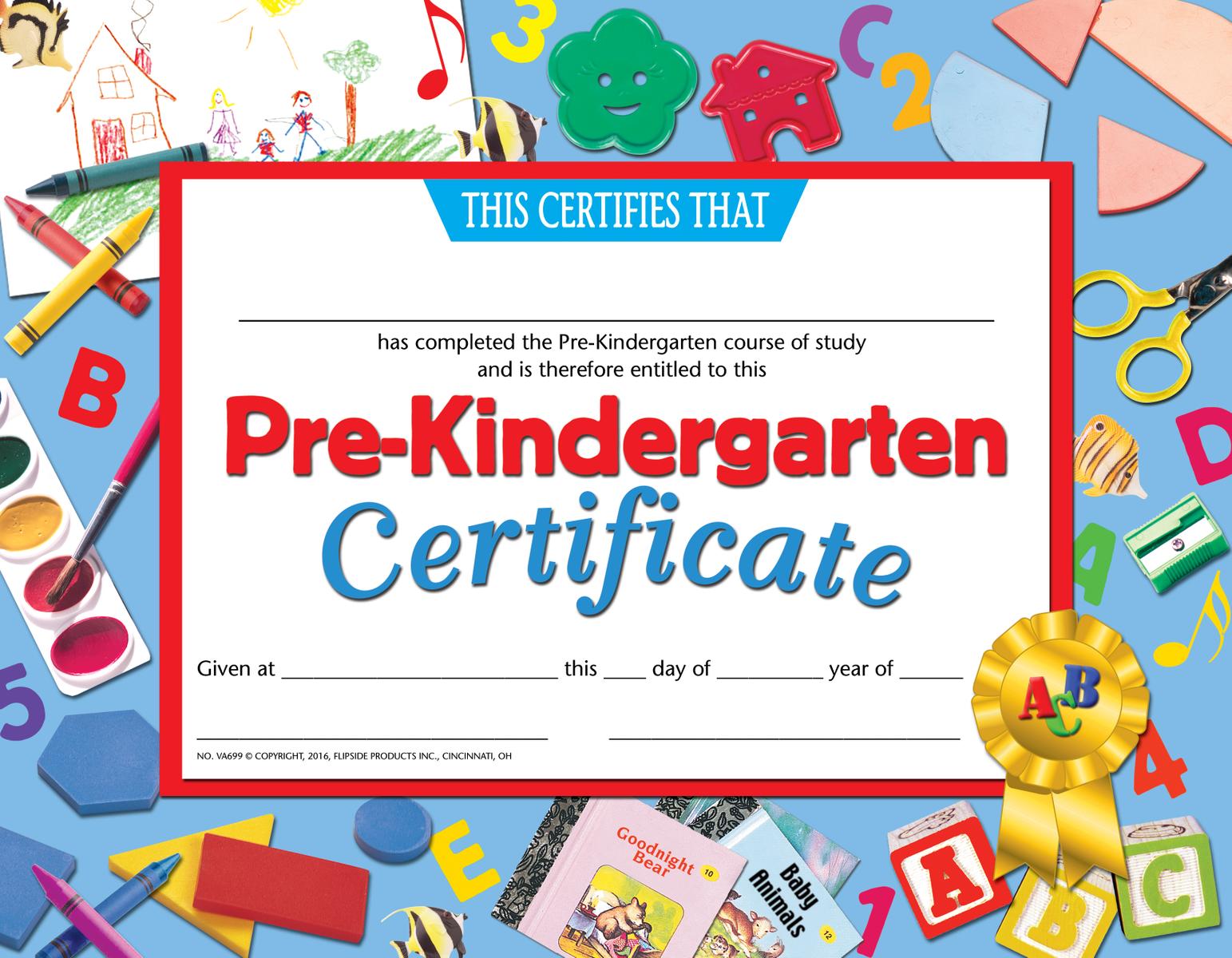 Pre Kindergarten Certificate Va699 Pack Of 30 8 5 X 11 Kindergarten Certificates Pre Kindergarten Kindergarten Graduation Certificate