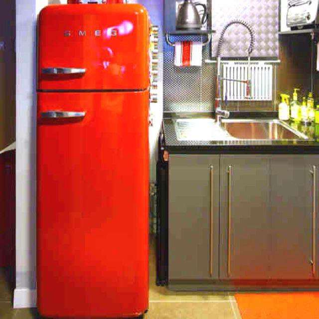 Red Vintage Fridge Retro Kitchen Appliances Modern Kitchen