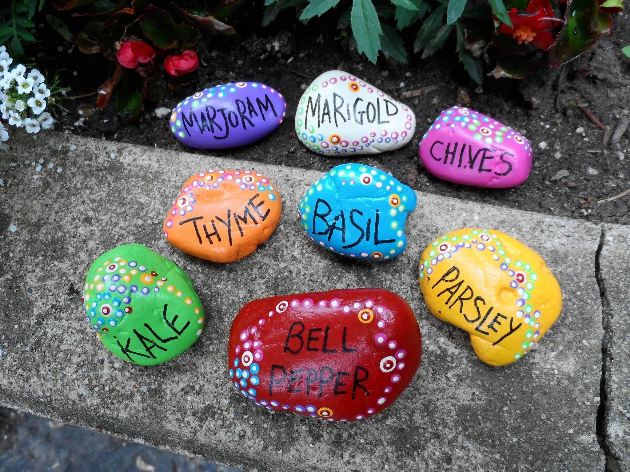 Homemade garden art ideas - Rock Garden Markers Crafts For Kids Jpg 2 048 1 536