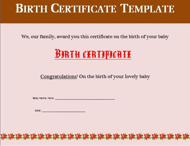 Baby Birth Certificate Template Best Birth Certificate Templates  17 Free Word & Pdf Formats .