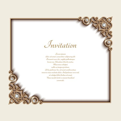 Vintage Golden Frames With Diamond Invitation Vector 03 Vector Frames Borders Free Download Invitations Frame Painted Wedding Invitation