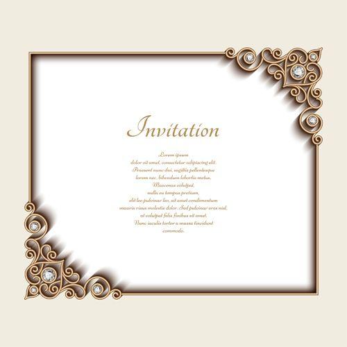 Diamond Wedding Invitation Label: Vintage Golden Frames With Diamond Invitation Vector 03