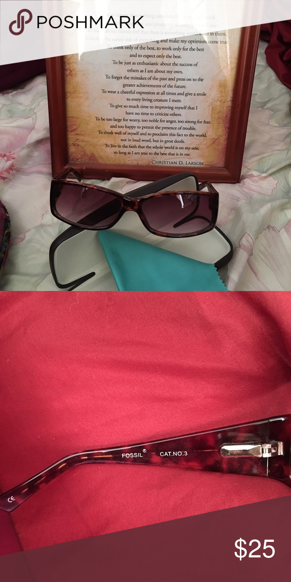 Beautiful Fossil sunnies! One of my favorites! So i really took care of it. very minimal scratches on the lens thou. Sorry lost the case but will ship with different one. Fossil Accessories Glasses