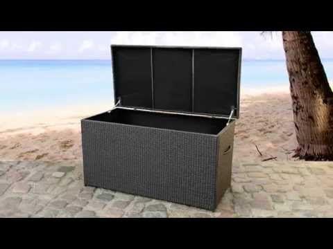 Rattantruhe Braun Rattan Kissenbox Auflagentruhe Auflagebox