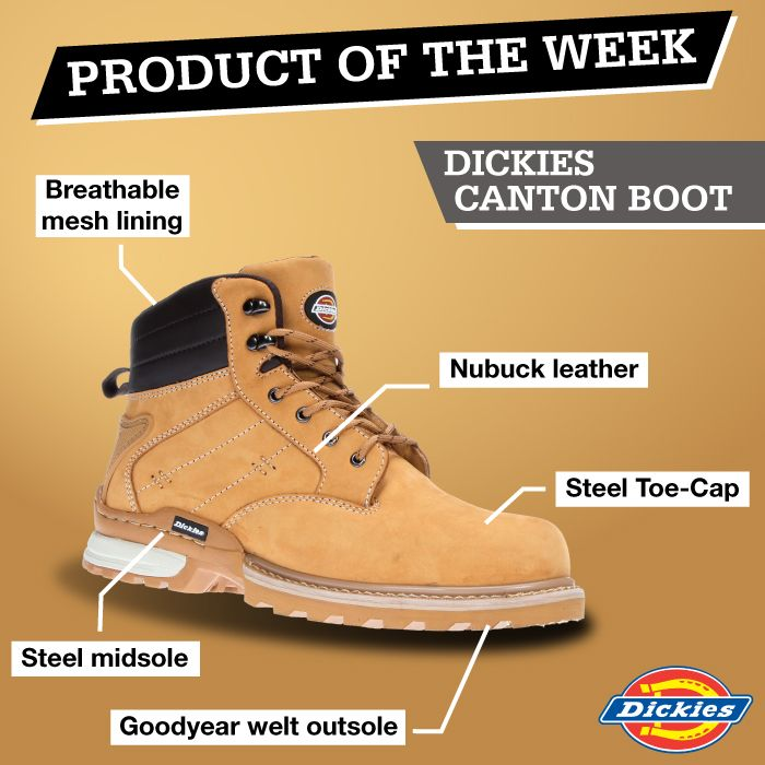 MENS DICKIES CANTON LEATHER SAFETY WORK BOOTS SHOES HIKER STEEL TOE CAP MIDSOLE