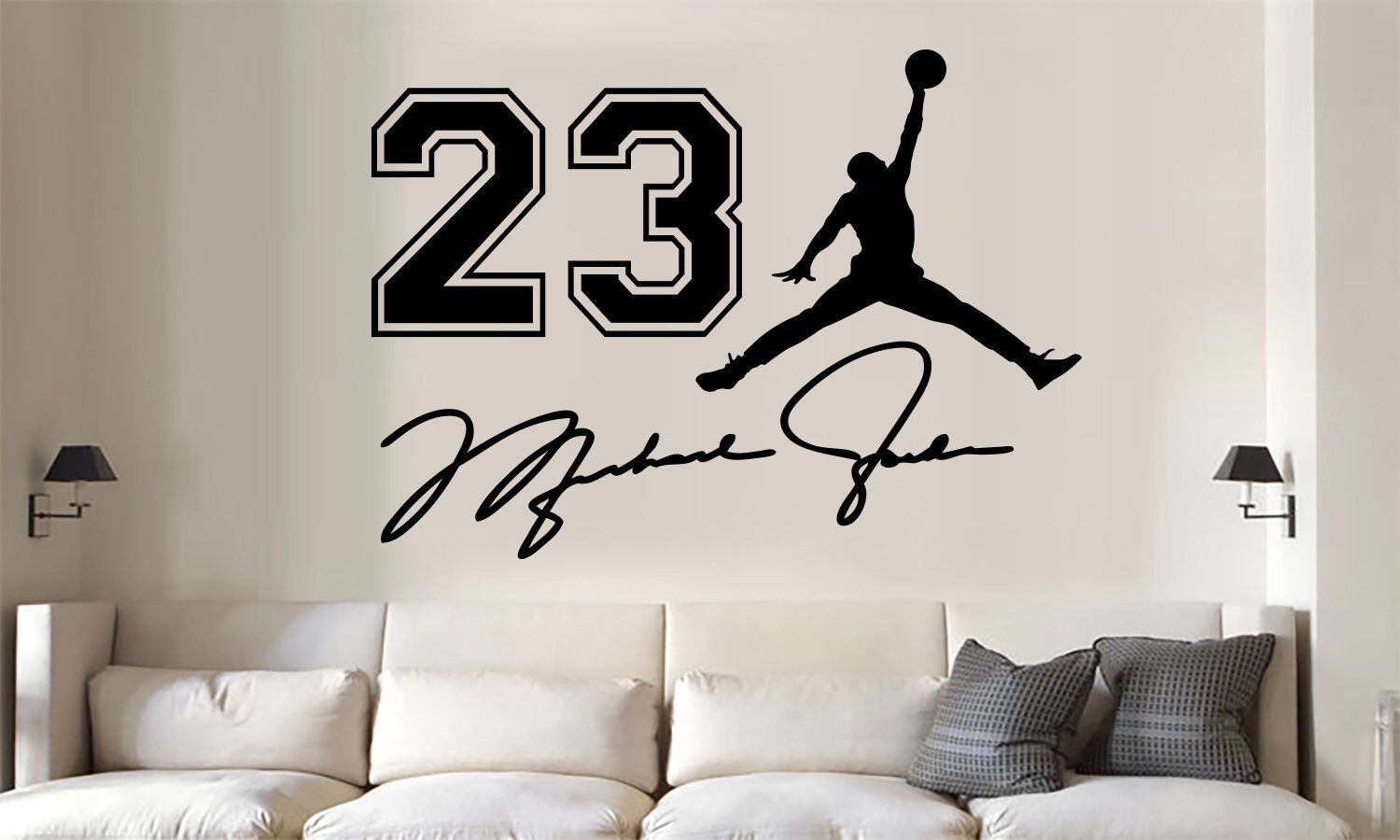 newest 66b4b e90f7 Michael Jordan jumpman jersey number auto Vinyl Wall Decal Words Sticker  3pc set by