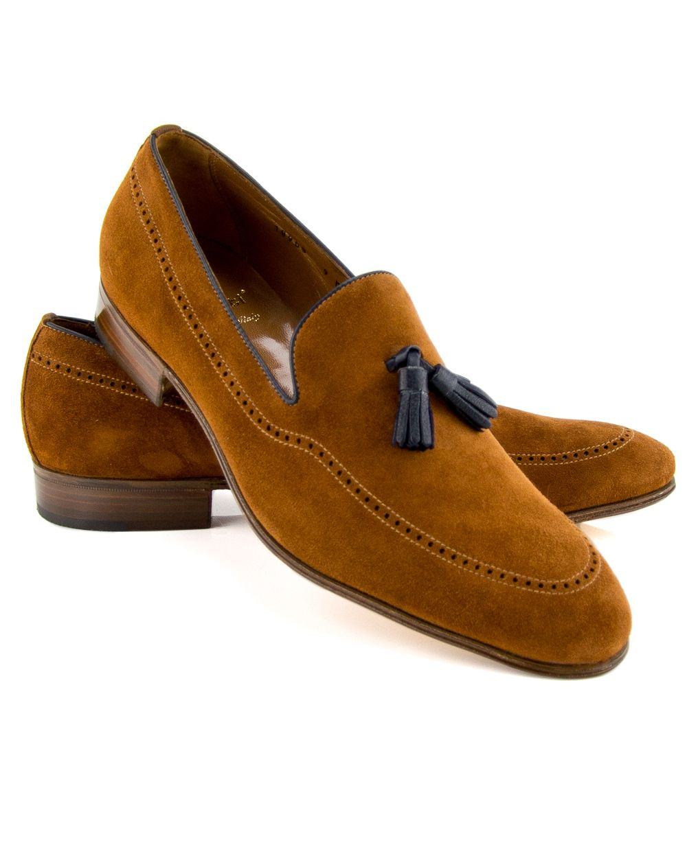 442253caf6f Gravati Cognac Suede Leather Tassel Loafer