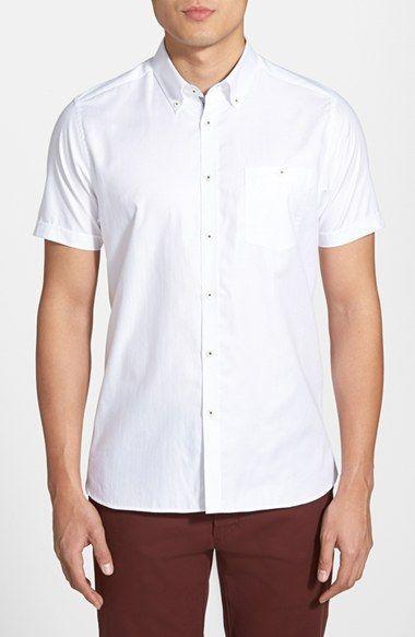 b1187ead702 Men s Ted Baker London  Bravvo Nord  Slim Fit Short Sleeve Oxford Sport  Shirt