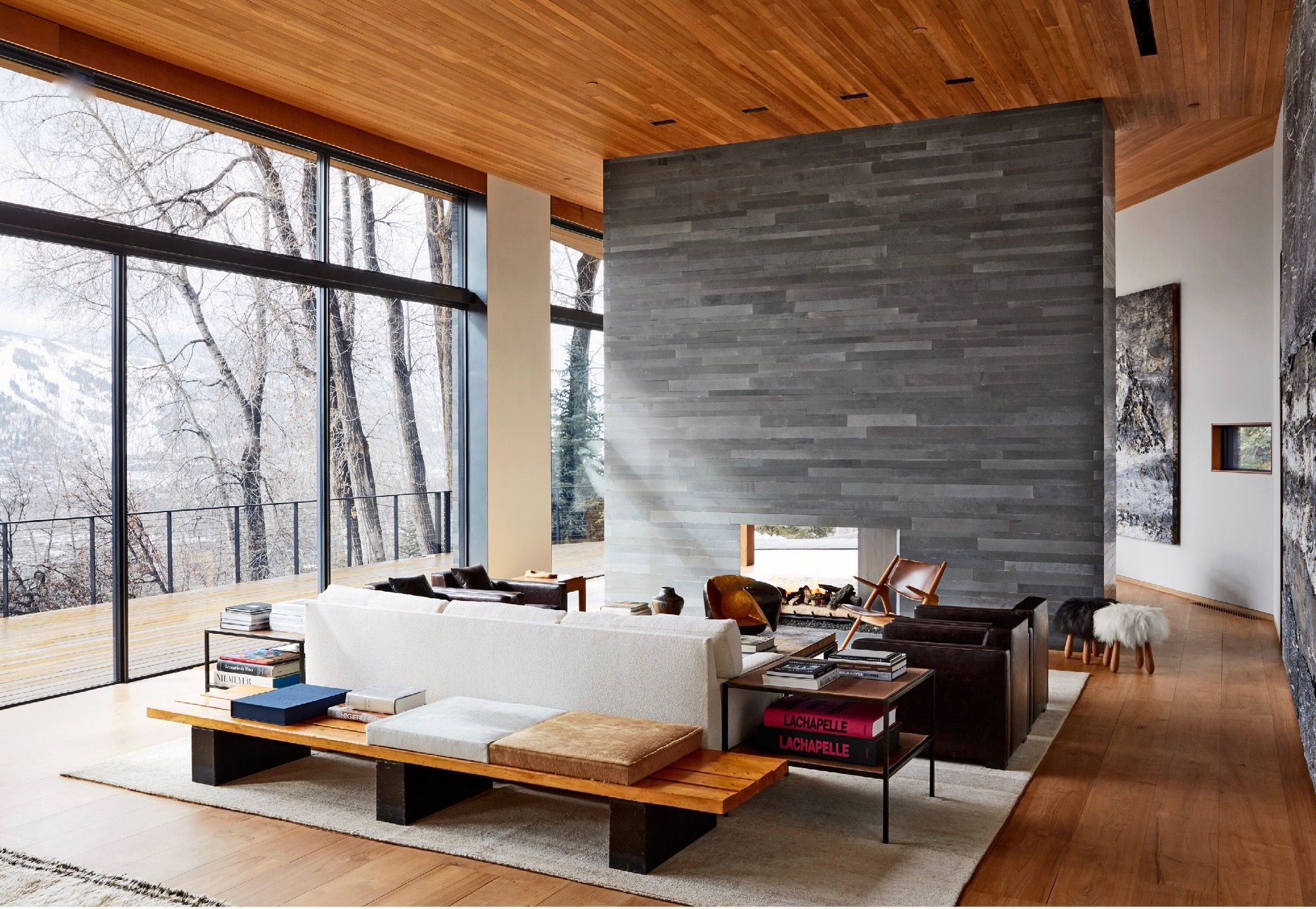A Slate Wall Surrounds The Living Room Fireplace In Peter