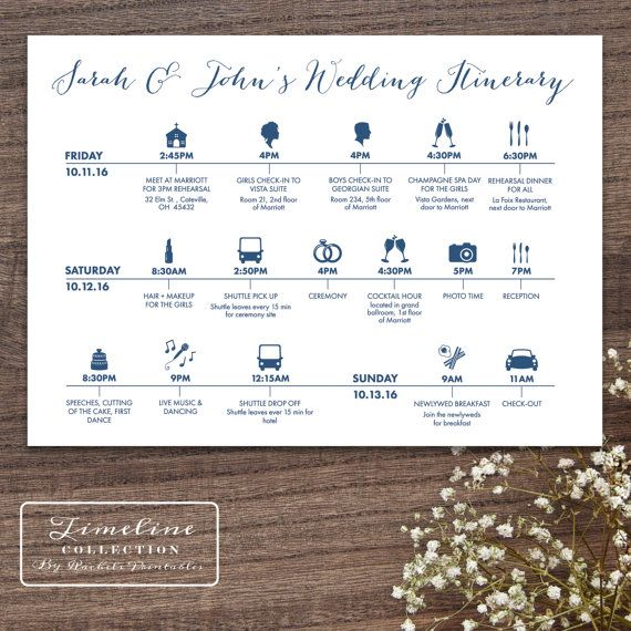 Printable Wedding Timeline Day Of Itinerary Schedule Card - three - wedding weekend itinerary template