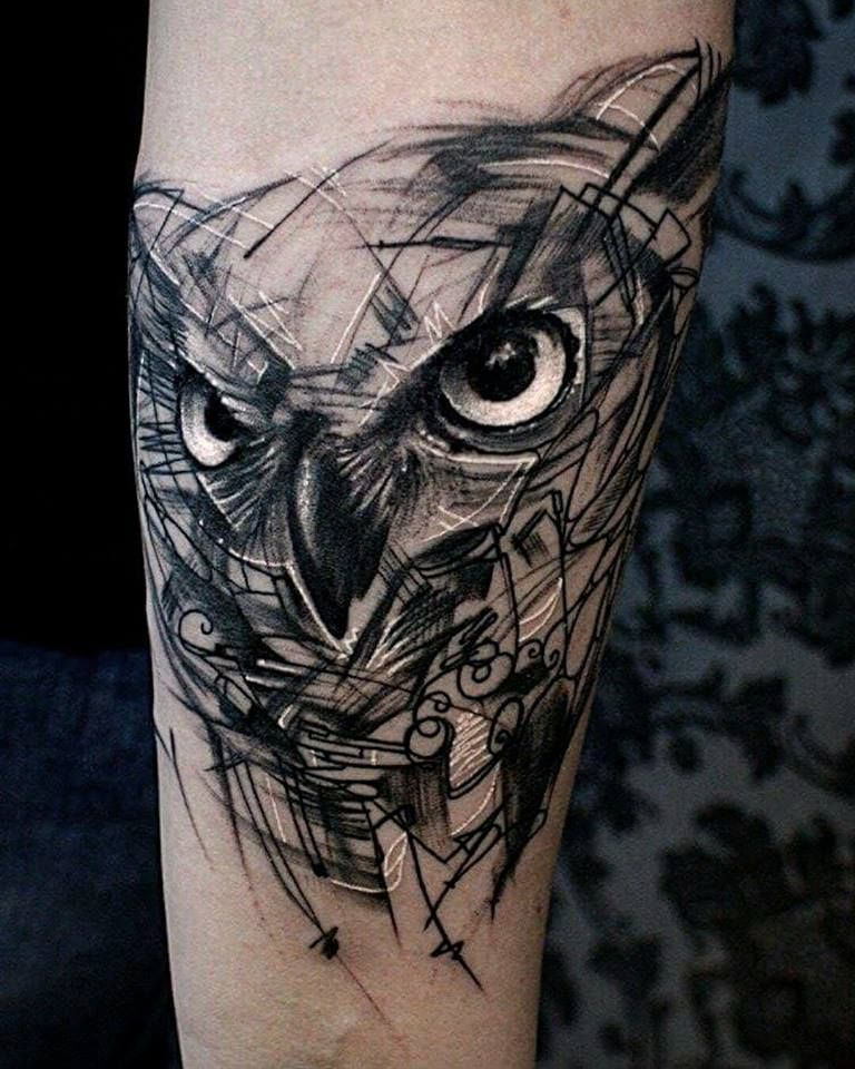 owl skizze tattoo trash lines realistic style by krzysztof at tattoo anansi in munich germany. Black Bedroom Furniture Sets. Home Design Ideas