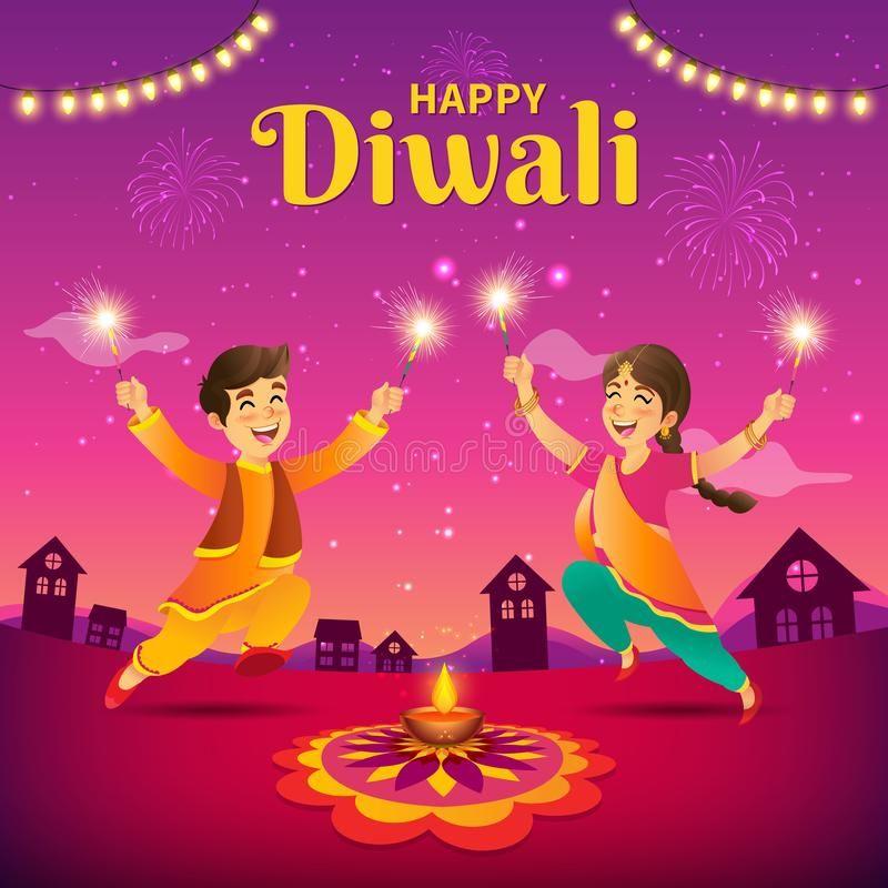 Diwali Greeting Card With Cartoon Indian Kids Cute Cartoon Indian Kids In Tradi Aff Indian K Diwali Greeting Cards Diwali Greetings Happy Diwali Images