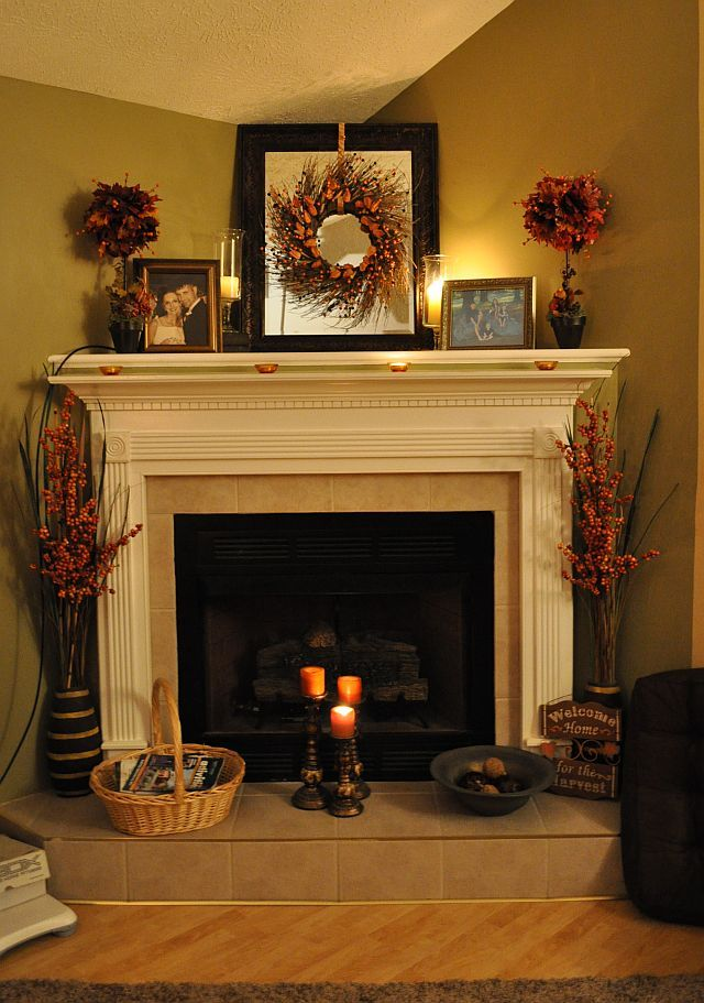Great **I Like The Corner Fire Place**Fall Fireplace Decorating Ideas. Idea