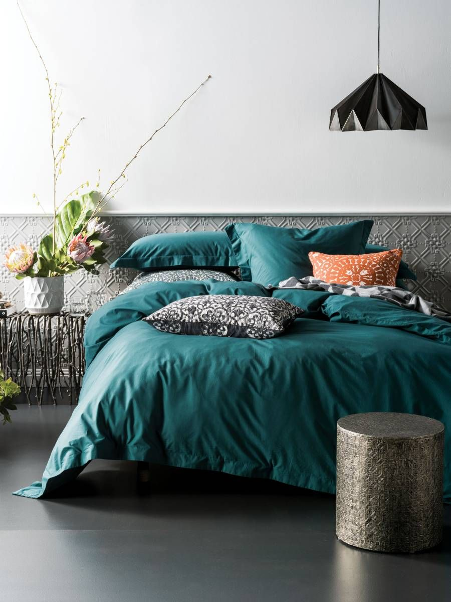 Colour Of The Quilt QUILT COVERS ONLINE ELKA DEEP TEAL QUILT - Dark teal bedding