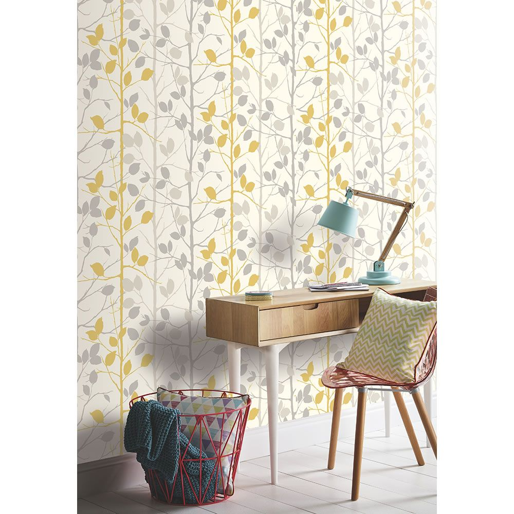 Arthouse Woodland Grey And Yellow Wallpaper Grey And Ye