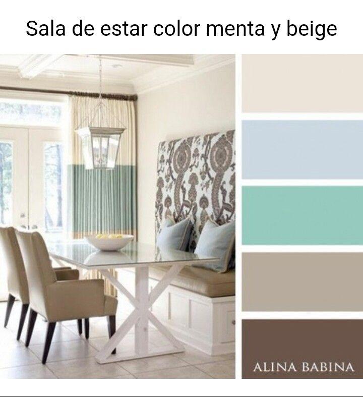 ideas de paleta de colores para sala de estar Menta Beige En 2019 Colores De Interiores Diseo De