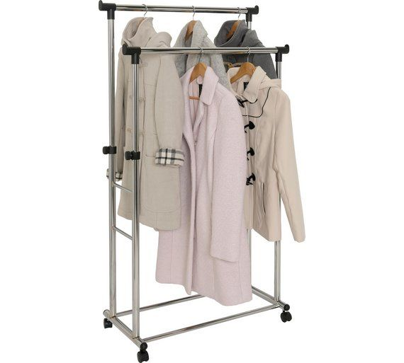 Home Adjule Double Clothes Rail Black And Chrome At Argos Co Uk