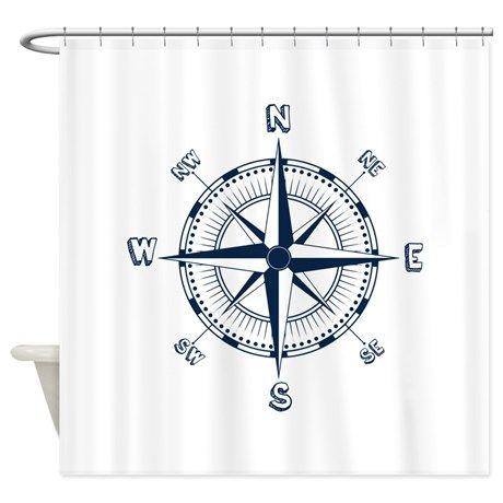 Nautical Compass Shower Curtain By Zenandchic Nautical Compass