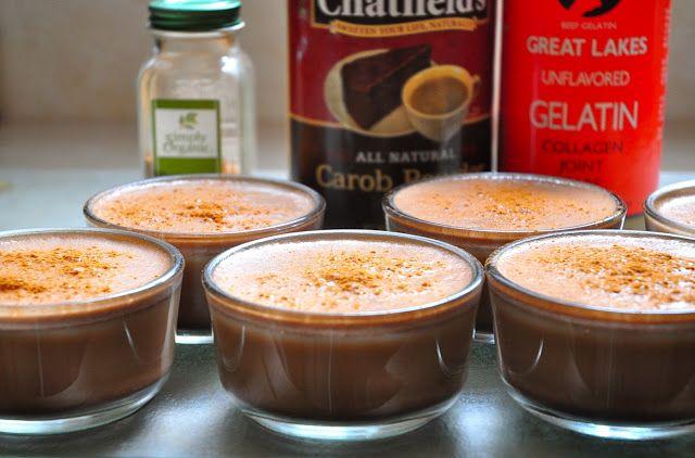 Sugar free gelatin dessert. Great lakes gelatin, coconut flakes, coconut cream, carob, stevia ...