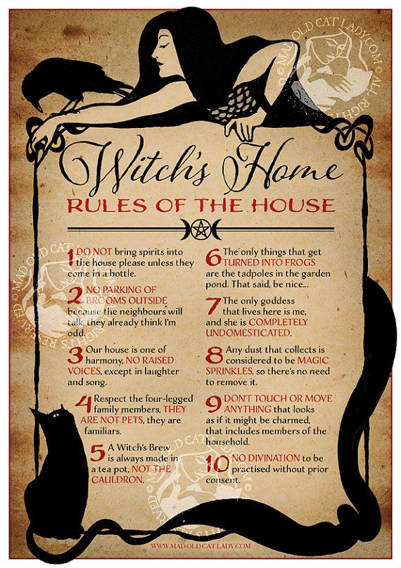 Witch 39 s home rules of the house a4 art print witches for Home design rules